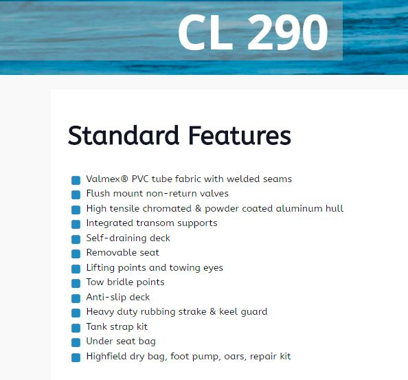 Highfield CL290 Standard Features
